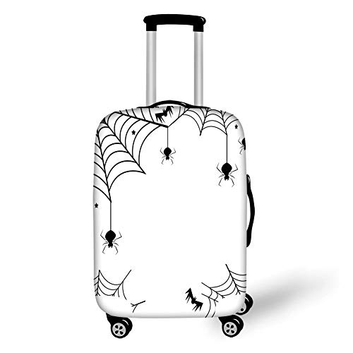 Travel Luggage Cover Suitcase Protector,Spider Web,Spiders Bats and Little Stars Monochrome Cobwebby Design Spooky Horror Elements,Black White,for TravelXL 29.9x39.7Inch