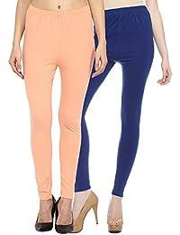 Sakhi Sang Leggings Pack of 2 : Peach & Royal Blue