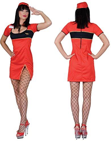 Flugbegleiter Kleid Kostüm Für Erwachsene - Karneval-Klamotten Stewardess Kostüm Damen rot sexy Flugbegleiterin Damenkostüm Kleid inkl. Hut Größe 36/38