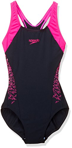 Speedo Damen Badeanzug Boom Splice Racerback, mehrfarbig(Black/Electric Pink),42