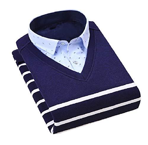 CuteRose Men's Stripe Knitwear Fake Two Piece Essential V-Neck Sweaters Navy Blue S -