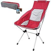 YAHILL Diseño Ultraligero Plegable Camping Silla Moon Leisure con Bolsa de Transporte para Trabajos al Aire Libre, Acampada, Senderismo, Viajes, Caza, Pesca, Roja