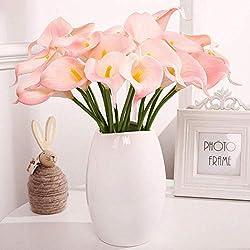 SparY Flor Artificiales, 10pcs Portátil Mini Ecológico Home Realista Ligero Novia Falso Alcatraz Bricolaje Floral Decoración de Boda Elegante Ramo - Rosa, Free Size