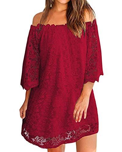 ZANZEA Damen Schulterfrei Kleid mit Spitze 3/4 Arm Transparent Abend Party Oberteil Mini Kleider 02-weinrot XX-Large