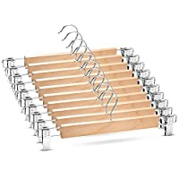 Premium Wooden Trouser Hanger & Skirt Hangers With Clips (10 Pack) Space Saving Clothes Hangers With 360° Swivel Hook - Adjustable Non Slip Clip Hangers for Trousers, Skirts, Jeans and Slacks - 33 cm