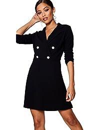 YourPrimeOutlet Damen Izzie Blazer-Kleid mit Military-Knöpfen d9e2003d56