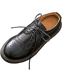 SXSHUN Mocasines Brogue para Niñas Zapatos de Cuero para Uniforme Colegio con Cordones