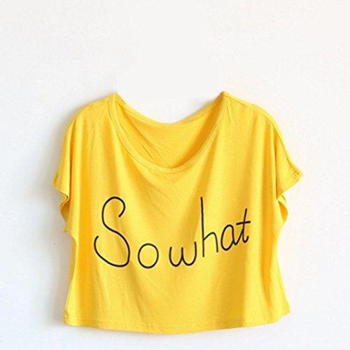 Bellelove Sommer Stil Lose Kurzarm Buchstaben Frauen T-shirts Exposed Nabel Crochet Tops (Gelb, L) (Shirt Buchstaben Weiß)