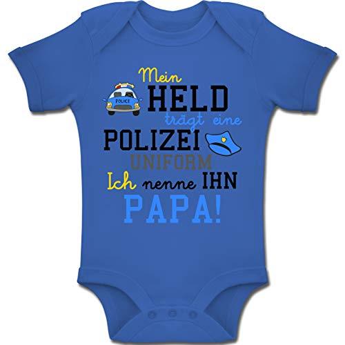 Shirtracer Sprüche Baby - Mein Held trägt eine Polizei Uniform - 3-6 Monate - Royalblau - BZ10 - Baby Body Kurzarm Jungen Mädchen