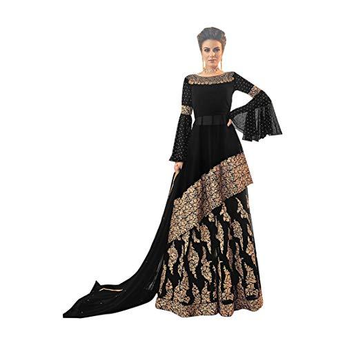 5749b47741 ETHNIC EMPORIUM Black Bollywood Eid Collection Long Georgette Svasato Top  Kameez e Gonna Abito con Donne