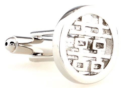 Double Happiness cufflinks with giftbox - round - Business Wedding Gift Present Accessories for Men