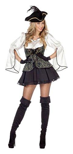 Karneval Klamotten Piratenkostüm Damen sexy Piratin Kostüm Pirat Damen Luxus Kostüm Karneval Damenkostüm Größe 44 (Damen Sexy Piraten Kostümen)