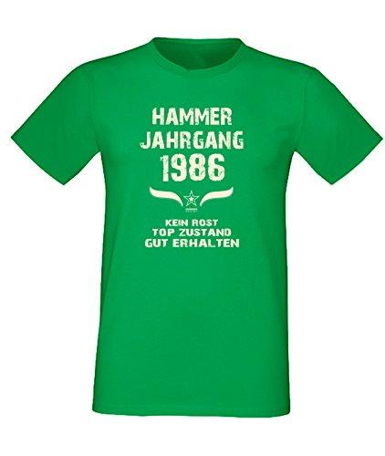Sprüche Fun T-Shirt Jubiläums-Geschenk zum 31. Geburtstag Hammer Jahrgang 1986 Farbe: schwarz blau rot grün braun auch in Übergrößen 3XL, 4XL, 5XL grün-01