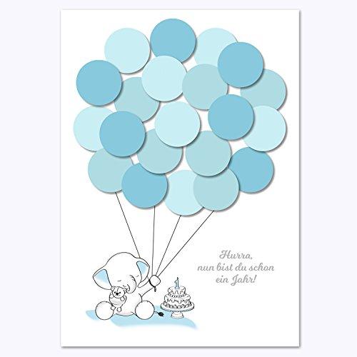 Erster Geburtstag, 1. Geburtstag Geschenk, Gastgeschenk, Deko, Andenken, Idee, Glückwünsche, Fingerabdruck, Erinnerungsstück, Elefant, junge, blau (Geburtstags-geschenk-ideen Jungen Für 1.)