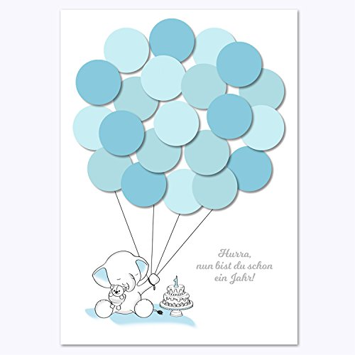Erster Geburtstag, 1. Geburtstag Geschenk, Gastgeschenk, Deko, Andenken, Idee, Glückwünsche, Fingerabdruck, Erinnerungsstück, Elefant, junge, blau