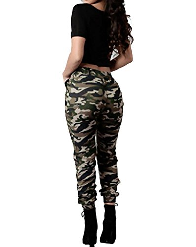 Tomwell Femme Casual Loose Militaire Motif Camouflage Skinny Cargo Pantalon Taille Haute Élastique Trousers Leggings Camouflage EU 3XL