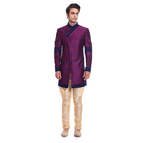 Tag 7 Men's Jacquard Sherwani (IN180_Maroon_40)