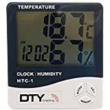 HTC-1 Humidity Time Display Meter with Alarm Clock, Wall Mount or Table Top, Multicolour