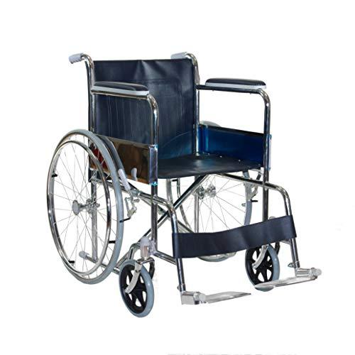 sedia a rotelle - carrozzina disabili leggera e pieghevole in acciaio cromato con freno per transito anziani e disabili - auto spinta -barre posteriori anti ribaltamento leva per gradini