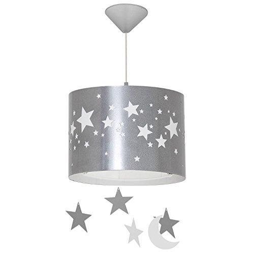 Hängeleuchte Kinderzimmer Innenlampe Grau Weiß Sterne Ø31,5cm Jungen Kinder Lampe Mädchen Pendelleuchte (Mädchen Hängelampe)