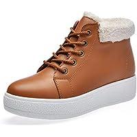 LIANGXIE Ms Botas de Nieve Bota de Invierno Sra. Moda Coreana Estudiantes de Suela Gruesa Warm Plus Velvet Zapatos de algodón de Corte Medio Zapatos de Mujer (Color : Marrón, tamaño : 36)