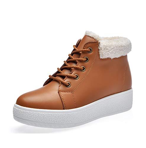 Liangxie ms snow boots winter boot ms. moda coreana studenti con la spessa calza warm plus velluto mid-cut cotton shoes scarpe da donna (colore : marrone, dimensione : 36)