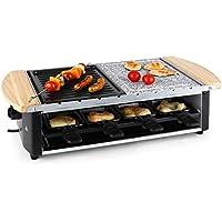 Klarstein Chateaubriand raclette con parilla (1.200 W, control de temperatura, parrillas de piedra y metal extraibles, para 8 personas)