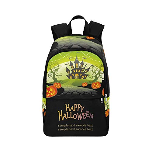 Happy Halloween Text Space Casual Daypack Reisetasche College School Rucksack für Herren und Frauen