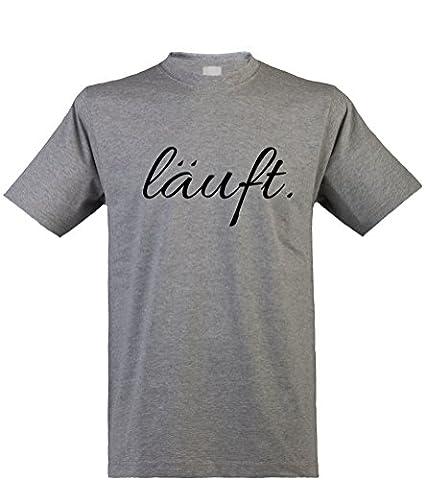 bedrucktes Herren T-Shirt mit witzigem Spruch, läuft..., Größen S-XXL, cooles Fun-Shirt ideal als Geschenk, heathergrey, Gr. (Fun Halloween-kostüme Für Arbeit)