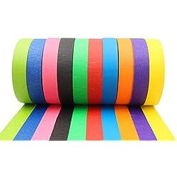 Cinta de colores - Cinta adhesiva decorativa para enmascarar - 10 Rollos largos de colores