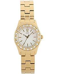 Guess Damen-Armbanduhr XS Mini Sparkle Analog Quarz Edelstahl beschichtet W0025L2