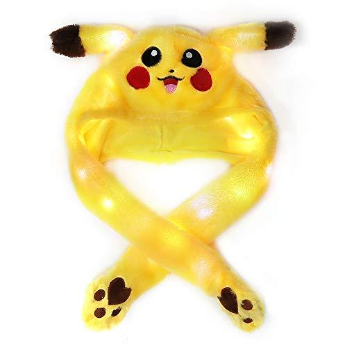 Beautiful Pine Unisex lustiger Hase Hut mit beweglichen Ohren Plüsch Hase Hut Hase Ohren Stirnband Spielzeug Kostüm Kaninchen Kinder Erwachsene (Yellow with LED)