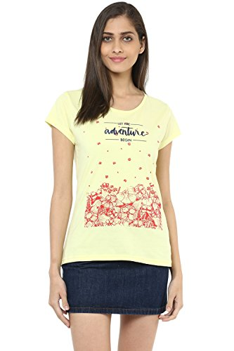 Honey by Pantaloons Women's Round Neck T-shirt (205000005661595, LIGHT YELLOW, L)  available at amazon for Rs.239