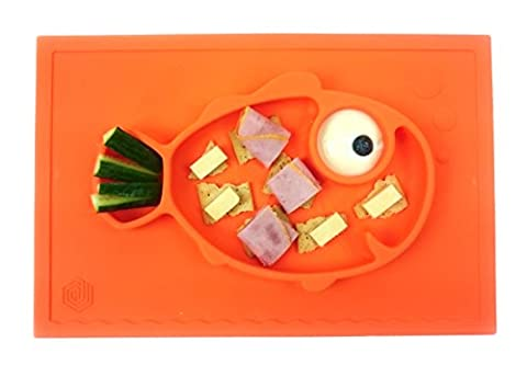 Smiley Fish Placemat by Hexnub, One Piece Silicone Suction Placemat + Plate – for Kids, Toddlers and Babies. (Orange)