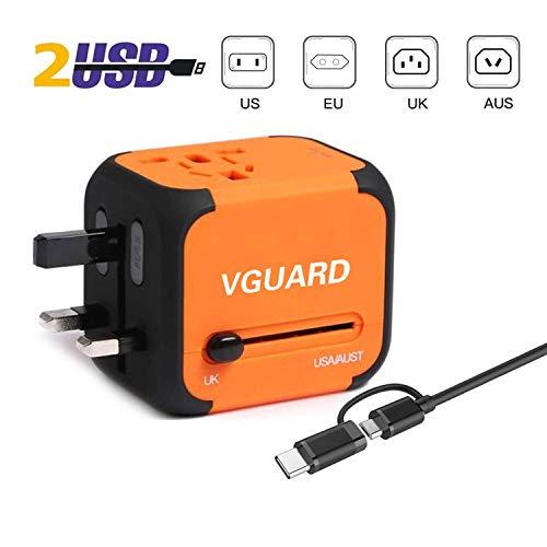 VGUARD Adaptador Enchufe Ingles de Viaje Universal Cargador Internacional con...