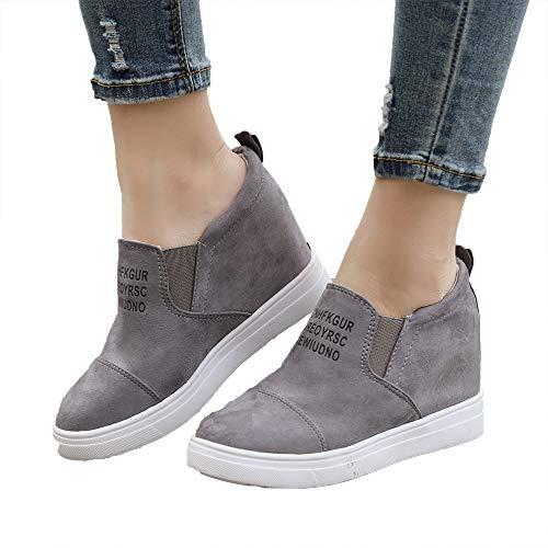 Miuko Plateau Sneaker Damen Leder Keilabsatz Hohe 7 cm Absatz Slip On Wildleder Loafers Wedges Ankle Boots Casual Bequeme Grau 39