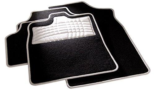 carfashion 254578universal pie | Juego de alfombrillas para escalón Protección y costuras en weiss| sin soporte, Auto Esterilla apta para muchos tipos Auto
