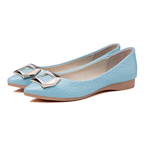 AgooLar Femme Pointu Tire PU Cuir Couleur Unie Non Talon Chaussures à Plat Bleu