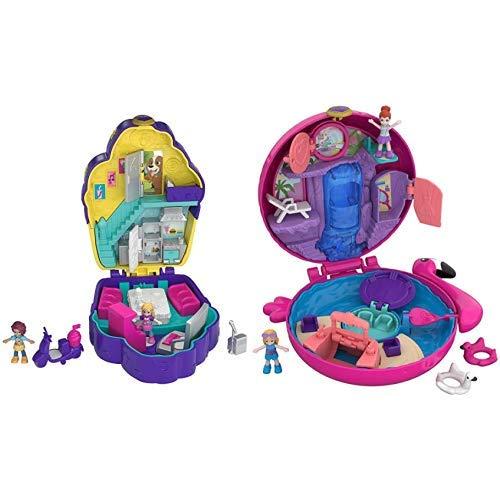 Polly Pocket FRY36 World Café Schatulle &  Pocket FRY38 - World Flamingo Schwimmring Schatulle Puppen Spielset, zum Sammeln, Mädchen Spielzeug ab 4 Jahren
