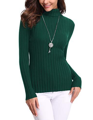Abollria Maglione Donna Elegante Maglioni Slim Collo Alto Maglieria Girocollo Volant Regalo Ideale per Natale