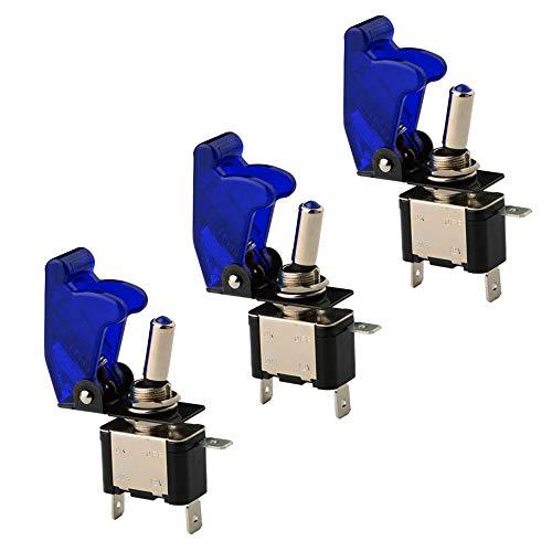 KINYOOO 3 X LED Blu Interruttore a levetta, LED Luci ON/OFF Switch, LED Cover Interruttore a Levetta Unipolare in Metallo 12V 20A Luce LED Blu Cover