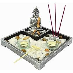 Gerimport Jardin Zen con Figura de Buda meditaciony portavelas Porta inciensios Surtido