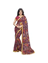 Beautiful Multi Colored Floral Printed Chiffon Saree By Triveni