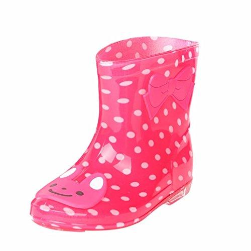 FNKDOR Kinder Gummistiefel Jungen Mädchen Regenstiefel Kurzschaft Waterproof Schuhe (25, Rot) (White Satin Wedge Schuhe)