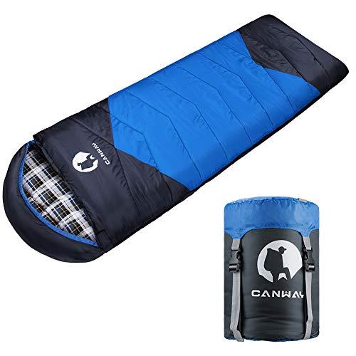 CANWAY Schlafsack Schlafsäcke Mumienschlafsack aus Baumwolle als Füllstoff wasserabweisend für Camping Indoor Outdoor Erwachsene im Winter 1,9KG (Blau-Flanell)