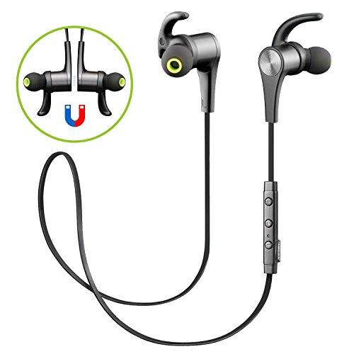 soundpeats [Verbesserte Version] Bluetooth Kopfhörer 4.1 Sport In Ear Kabellos AptX 8 Stunden Magnetisch mit Mikrofon Schweißfest geeignet für Jogging Fitness Workout Stereo Ohrhörer für iPhone Samsung und jedes andere Smartphone oder Bluetooth-Gerät ( Schwarz )