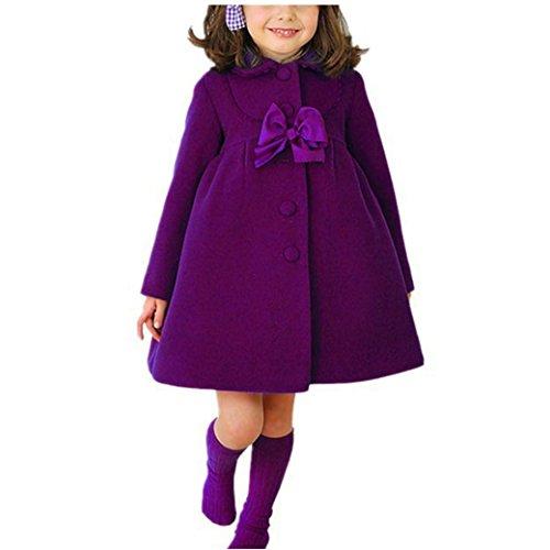Longra Baby Kinder Wintermantel Winterparka für Mädchen Dicke Warme Winterjacken Langmäntel Kinder Wollmäntel Steppmantel Lang Parkas Outdoorjacke Outwear (110CM 3Jahre, Purple)