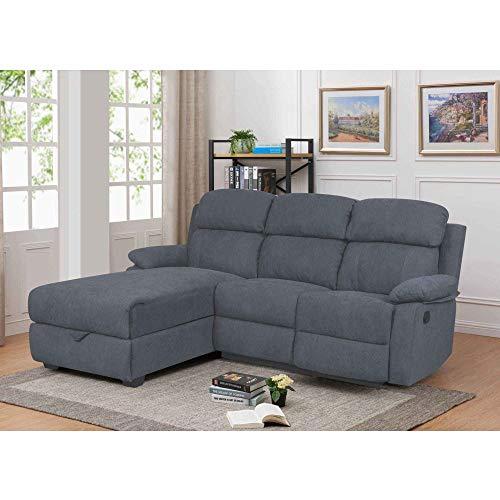 Decoinparis - divano relax con penisola e cassapanca portaoggetti in tessuto keaton - angolo sinistro