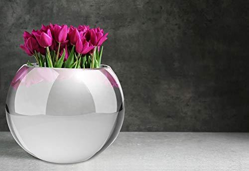 Kayoom WOHNZIMMERDEKO DEKO GLASVASE BLUMENVASE Kugel Vase Rund Dekoration Silber