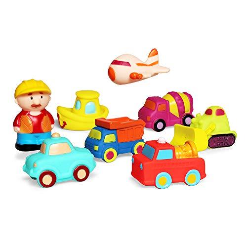Junshen giocattolo per bagnetto(8pcs),giocattoli da bagno con auto,camion,polizia giocattoli da bagno morbidi giocattoli da vasca per bambini e giocattoli per bambini piccoli